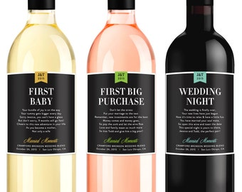 Wedding Milestone Wine Labels - Fun Wedding Gifts - Engagement Gift Celebrating Marriage Firsts - Wine Poems - Set of 6 - Gift Ideas