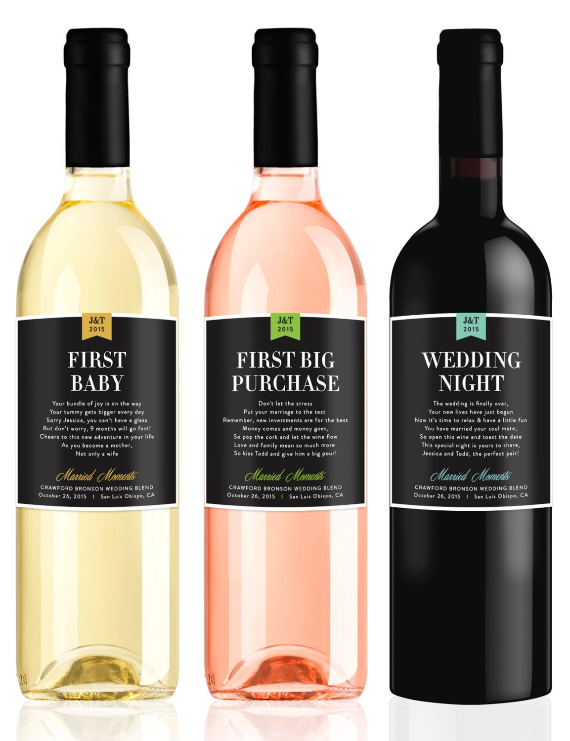 Wedding Couple Gift Ideas: Wedding Milestone Wine Labels Fun Wedding Gifts Engagement