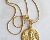 Necklace - Saint Mary Magdalene Carried by Angels - 18K Gold Vermeil