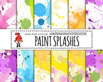 "Paint splashes digital paper:""PAINT SPLASHES PAPER"" with digital paper with paint splashes in various colors (1249)"