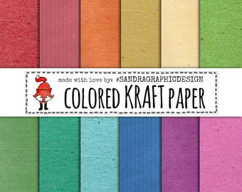 """Digital paper pack: """"KRAFT PAPER COLOR"""" with kraft paper backgrounds, textures,in bright colors, instant download (1094)"""