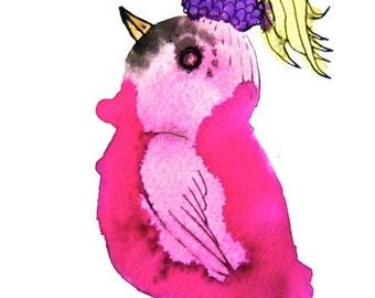 Pink nursery art, baby art, for a girl, bird art, original drawing, pink bird, ink artwork