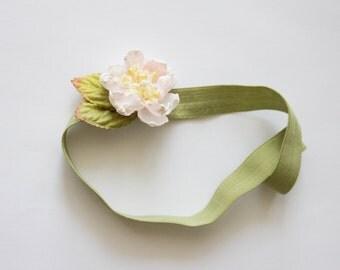 flower headband, flower girl headband, peach flower headband, peach headband, green headband
