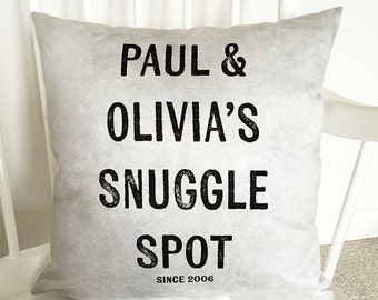 Snuggle Spot Cushion - Couples Cushion - Personalised Cushion - New Home Gift - Gift for Couples - Wedding Gift - Anniversary Gift