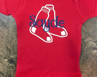 Monogrammed Boston Redsox Bodysuit\Onesie or T-shirt