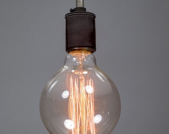 Black porcelain Ceiling light Industrial Ceramic ceiling light, Antique Edison Bulb, Lamp, Rustic Lighting