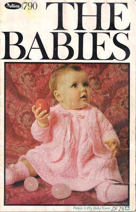 Knitting Pattern Books For Babies : The Babies Knitting book Patons 790 patterns for 3 ply baby