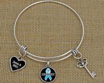 Custom Sobriety Date Narcotics Recovery Memory Wire Bracelet - RCNAR55881