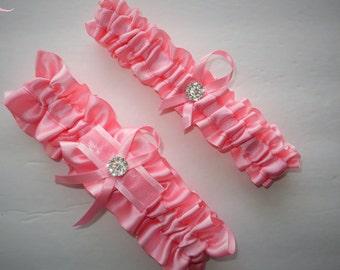 Pink Garter Set, Keepsake and Toss-away Garter Set, Ribbon Garter, Prom Garter, Pink Garter, Bridal Garter, Wedding Garter