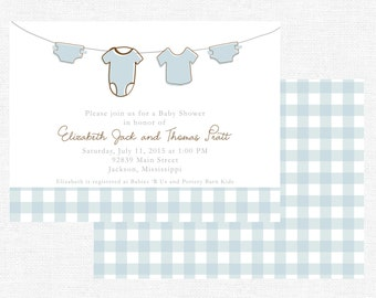 Boy clothesline baby shower invitations-FREE SHIPPING or DIY printable