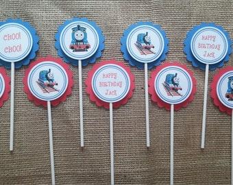 choo choo train birthday cupcake toppers set of 24