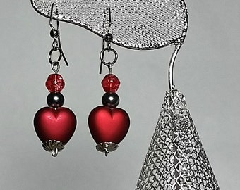 Beautiful Red Heart Dangle Earrings