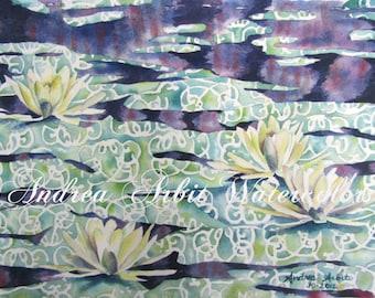 """Waterlilies (11""""x15"""" Watercolor Painting)"""