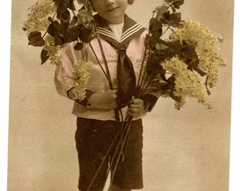 1910s Little Boy with Flowers Edwardian Postcard Antique Vintage