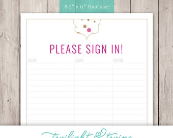 Thirty-one Glam Dots Party Sign-in Sheet - PDF, Printable, Template ( Consultant, Thirty One, 31, Vista Print )