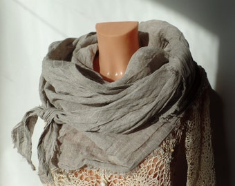 Linen scarf Scarf Linen Accessories Gray scarf Spring scarf Summer scarf Women scarf Handmade scarf  Wrap FASHION SCARF Spring trends Rustic