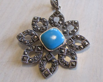 Sterling Silver Marcasite and Faux Turquoise Pendant