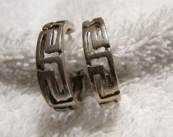 Sterling Silver Greek Key Hoop Earrings. Post Style.