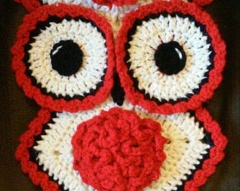 Crochet January Carnation Owl Potholder Pattern Only