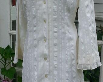 Vintage 70s White Puckered Cotton Dress Innocent Boho Peasant Ruffle sz38
