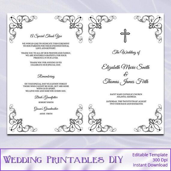 catholic wedding program template diy black white cross. Black Bedroom Furniture Sets. Home Design Ideas