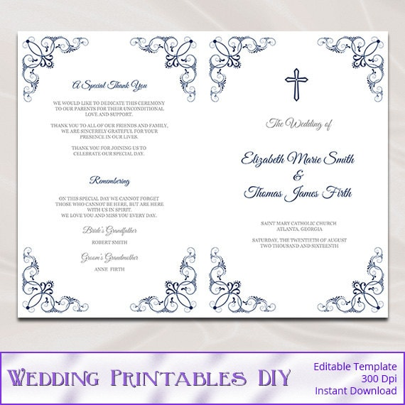Catholic Wedding Program Template Diy Navy Blue Church