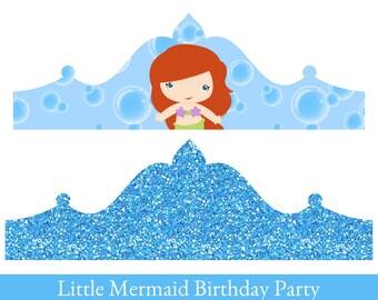 Little Mermaid Crown, Birthday Crown, Crown Printable, Princess Ariel Crown, party hat, Little Mermaid Birthday