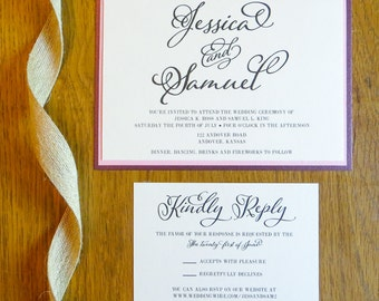 Pink And Plum Wedding Invitation, Blush Wedding Invitation, Plum Wedding  Invitations