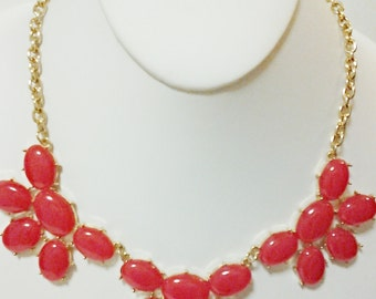 Coral Gold Chain Necklace / Bib Necklace / Statement Necklace.