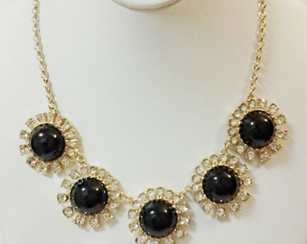 Gold and Black Flowers with Crystal Clear Rhinestones Necklace / Gold Chain Necklace Bib Necklace / Statement Necklace