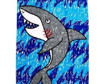 Kids Shark Waves Fiber Reactive Beach Towel Personalized Beach Towel