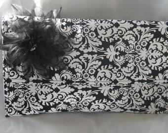 Black & White Clutch Bag//Evening Clutch Bag//Placemat Clutch Bag