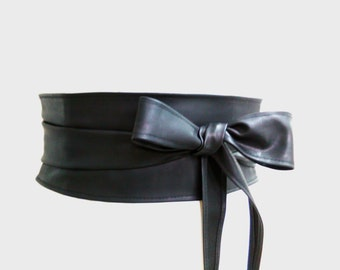 Black women's belt Obi belt wrap belt