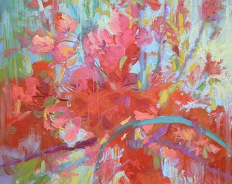 Art for Bedroom - Abstract Floral Painting Canvas Print in 3 Sizes