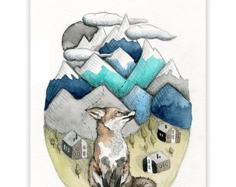Fox Mountain Print, Fox, Small Art Print, Art Print, Nursery Art, Mountain Art Print, Wall Art, Fox Print, Water Colour Print, Mountain