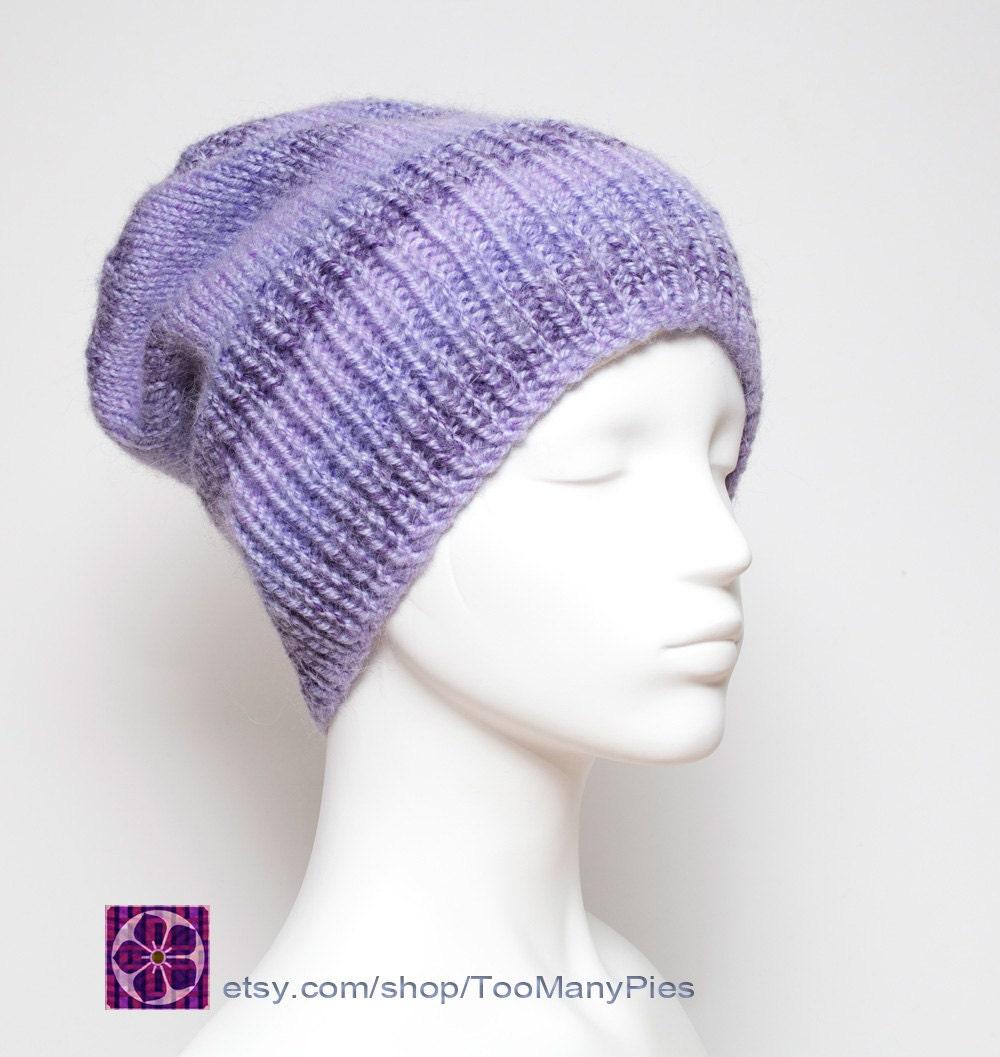 Knitting Pattern For Mohair Beanie : Mauve Knit Slouchy Beanie Hat Chunky mohair/wool/acrylic