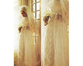 Crochet WEDDING DRESS PATTERN Vintage 70s Crochet Dress Bridal Gown