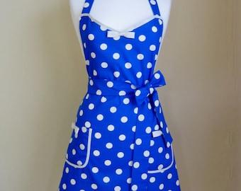 1950s Style Apron / Retro Apron / Vintage Style Apron With Bow Detail / Polka Dot Apron / Womens Apron / Blue Apron / Blue and White Apron