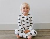 Toddler Pajama Set: Signature Hello Sunday Charcoal Cloud Organic Cotton Pajamas for Boy or Girl