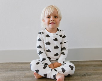 Toddler Pajama Set: Signature Hello Sunday Charcoal Cloud Organic Cotton Pajamas for Boy or Girl