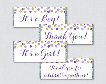 Purple and Gold Printable Candy Bar Wrapper for Baby Shower Hershey Chocolate Bar Wrapper -  Instant Download - Glitter Baby Shower - 0008-R