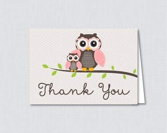 Printable Owl Thank You Card - Printable Instant Download - Pink Owl Baby Shower Thank You Card, Brown and Pink Owl - 0006-P