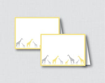 Printable Giraffe Food Tent Cards or Place Cards - Printable Instant Download - Yellow and Gray Giraffe Food Labels - 0011-Y