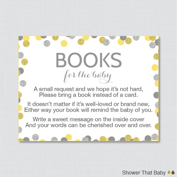 yellow and gray baby shower printable bring a book instead of a card