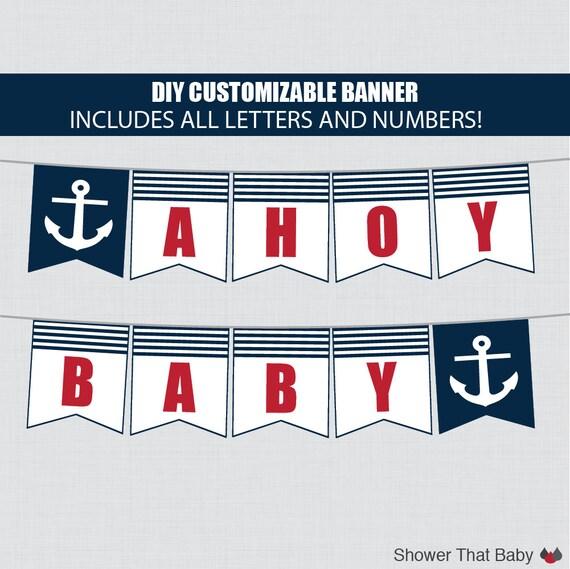 Printable Nautical Baby Shower Banner Customizable DIY