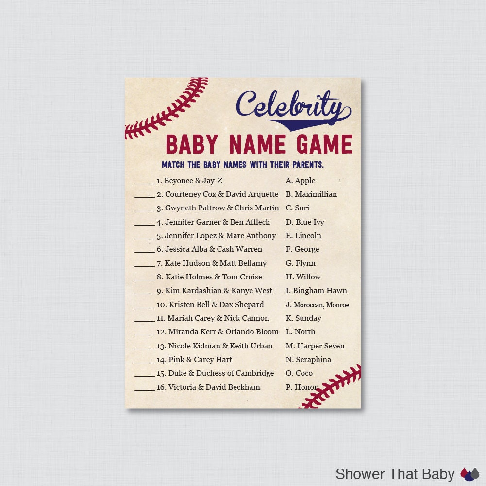 baseball celebrity baby shower game celebrity baby name