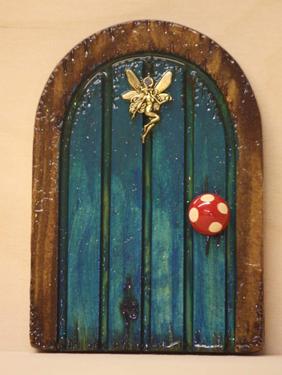 Handmade turquoise wooden fairy door with dancing by for Wooden fairy doors