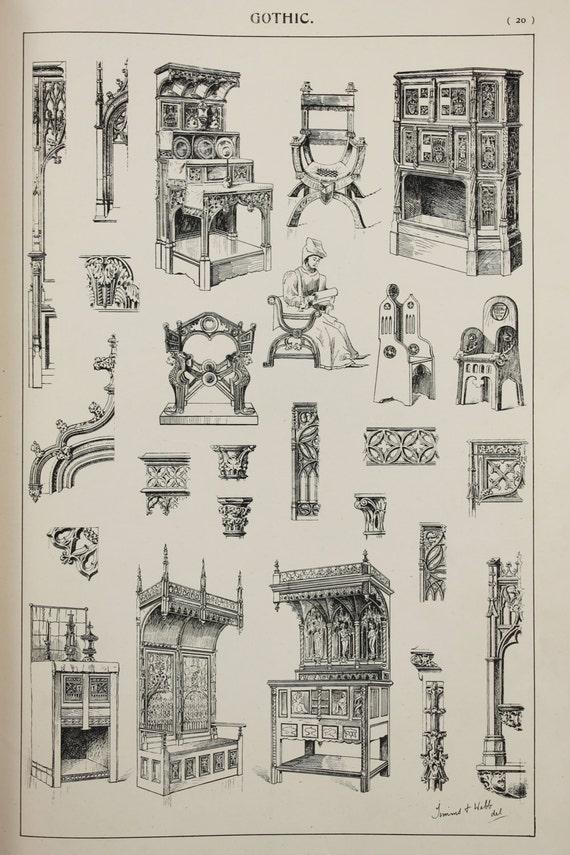 Disegni di mobili gotici grandi stampe antiche bianco nero for Disegni di mobili