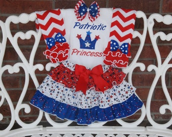 Girls 4th of July Outfit! Patriotic Princess 4th of July Outfit! Patriotic Outfit/4th of July Outfit/Red White and Blue/Patriotic Skirt