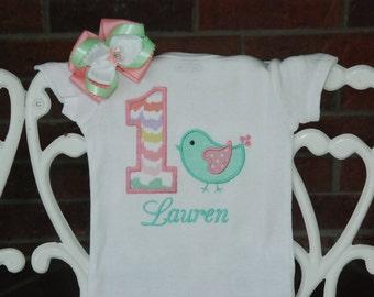 2 pc. Baby Girl Bird Birthday Shirt and Hair Bow! Baby Girl 1st Birthday Shirt! Mint and Pink First Birthday Outfit/Bird Birthday Outfit